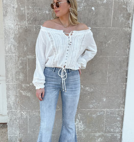 London Off The Shoulder Button Up Blouse