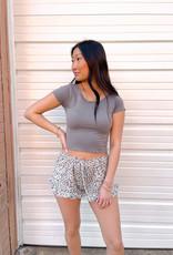 Bumper Grey Leopard Lounge Knit Shorts