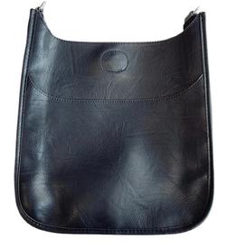 Large Vegan Messenger Bag w/Silver Hardware
