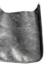 Large Vegan Messenger Bag w/ Silver Hardware