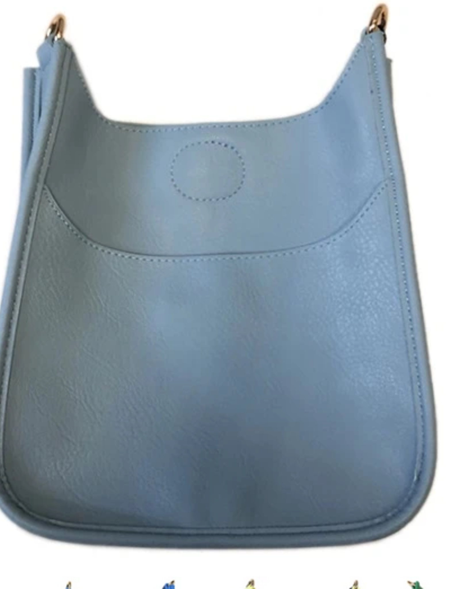 Mini Vegan Messenger Bag w/Gold Hardware