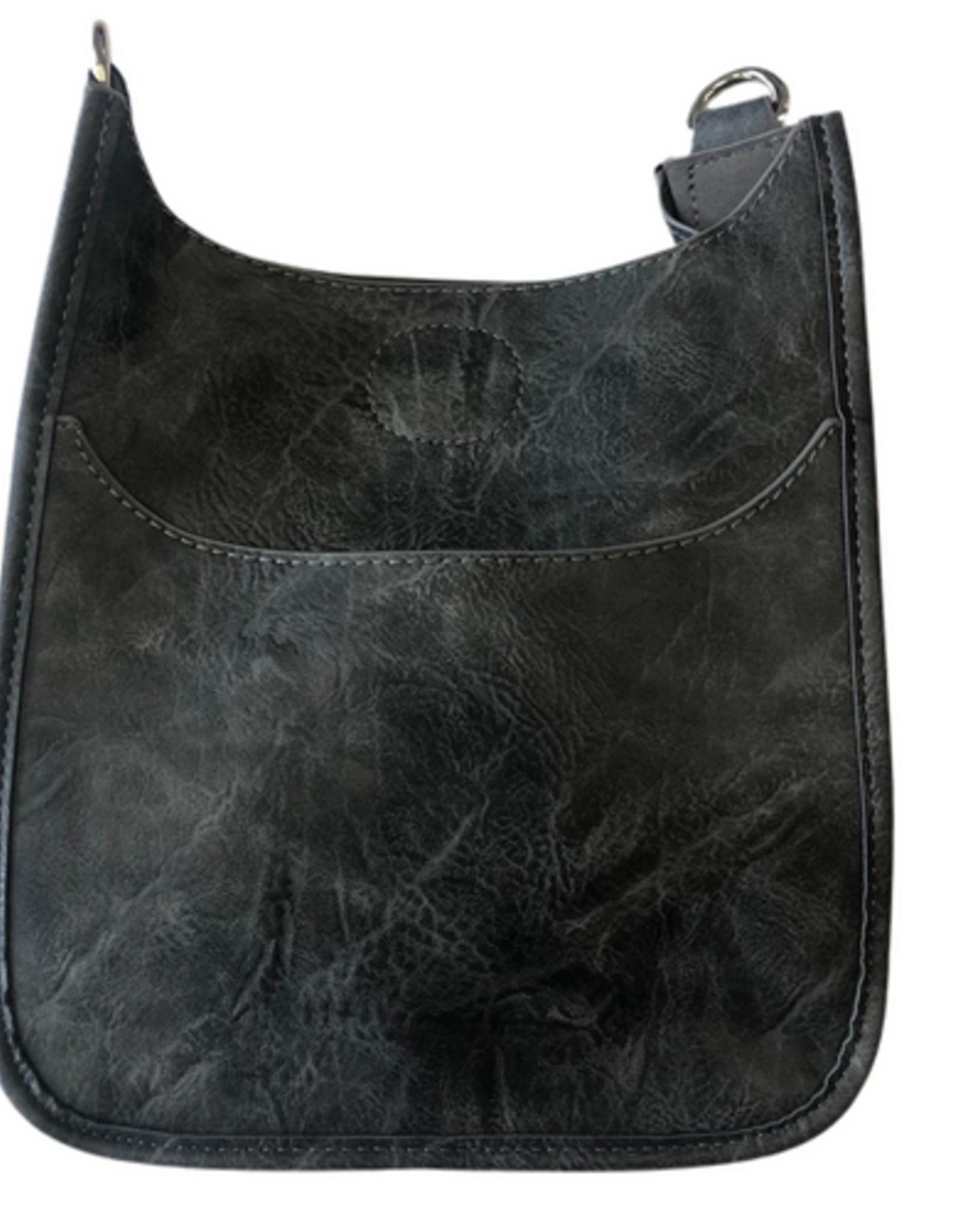 Mini Vegan Messenger Bag w/ silver hardware