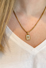 Mother of Pearl Shell Initial Pendant on a Curb Chain