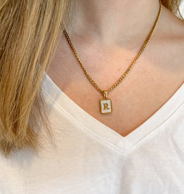 Mother of Pearl Shell Initial Pendant