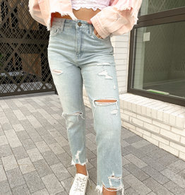 Rory Super High Rise Distressed Straight Leg Jeans