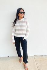 Thea Raw Bottom Open Weave Hoodie Sweater