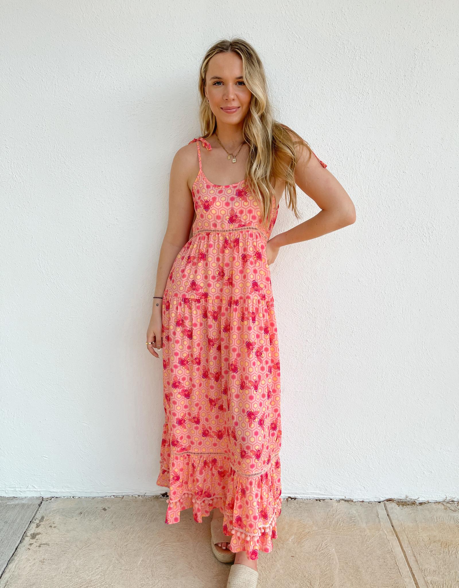 Sloan Bee Pom-Pom Maxi Dress