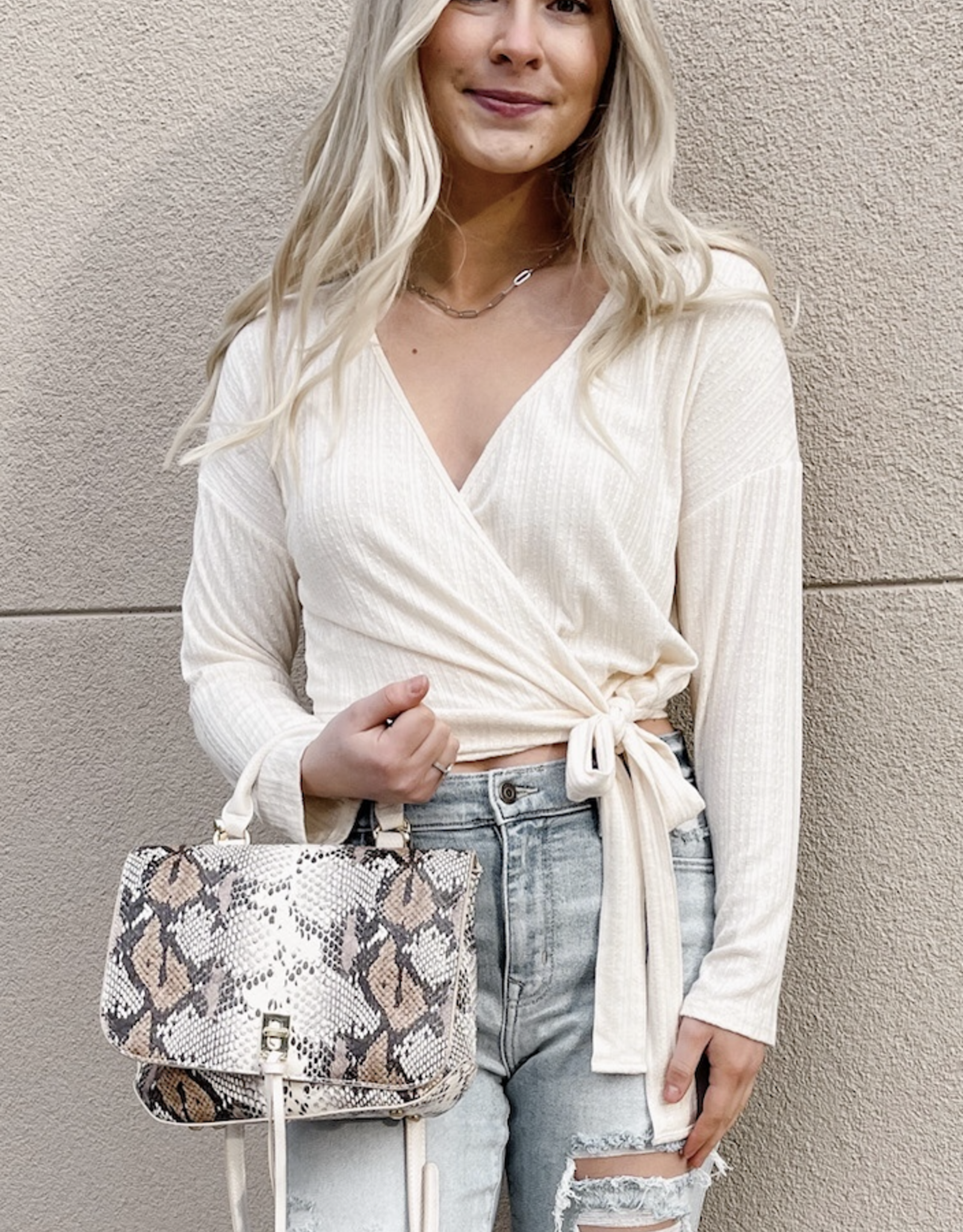 Emery Wrap Front Knit Top