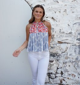 Georgia Printed Embroidered Halter Top