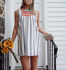 Amaia Stripe Embroidered Dress
