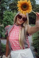 Juneya Printed Flutter Sleeve Top