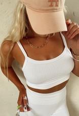White Ribbed Bralette