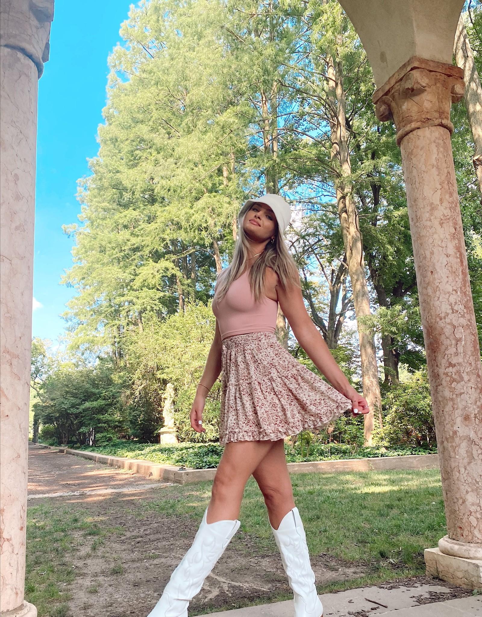 Haley Printed Tiered Mini Skirt