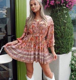 Stephanie Boho Floral Long Sleeve Dress