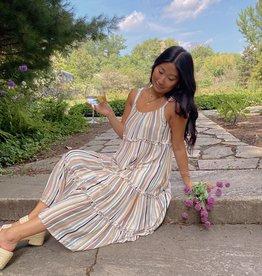 Anne Multi Striped Midi Dress
