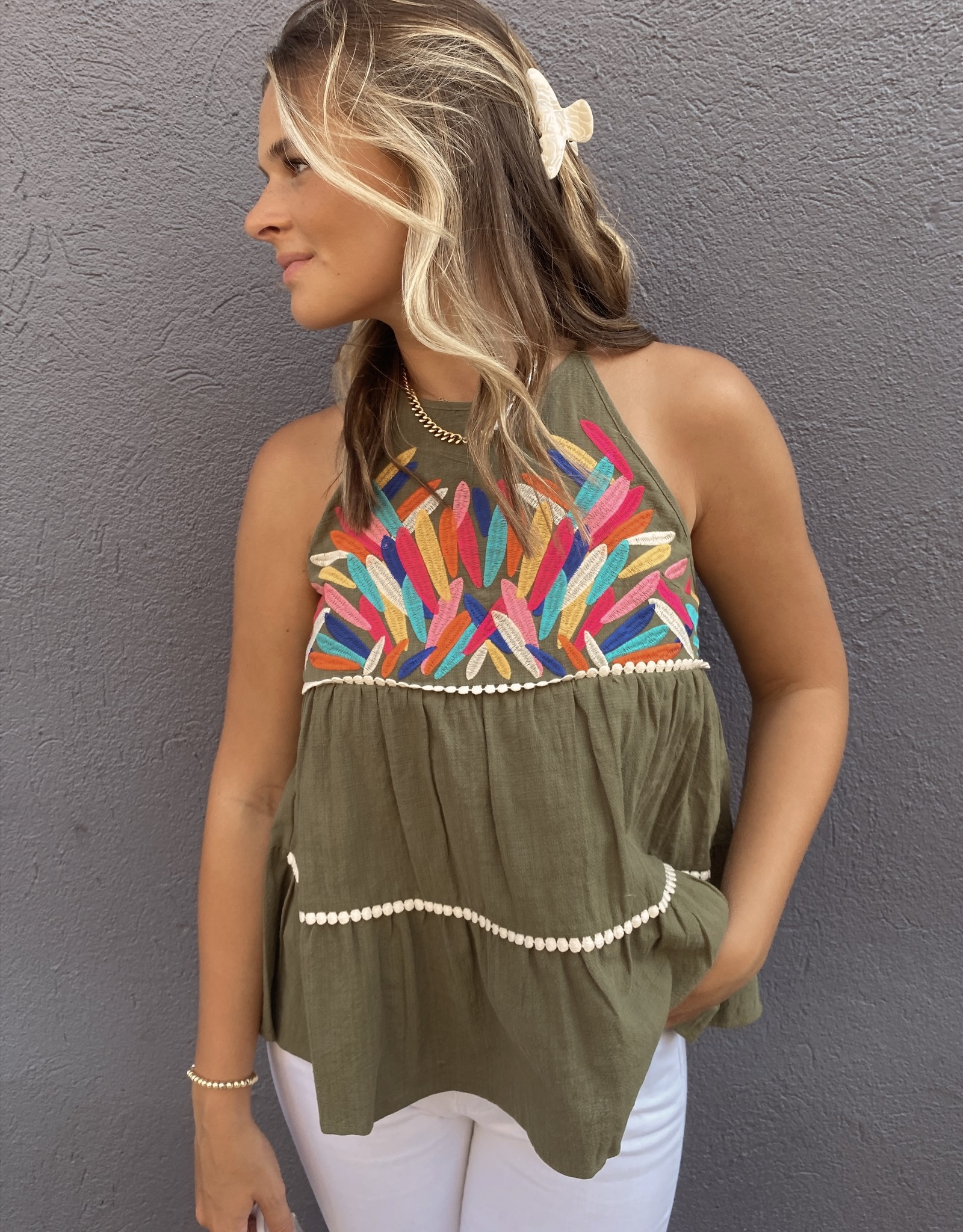 Fawn Embroidered Tiered Halter Top