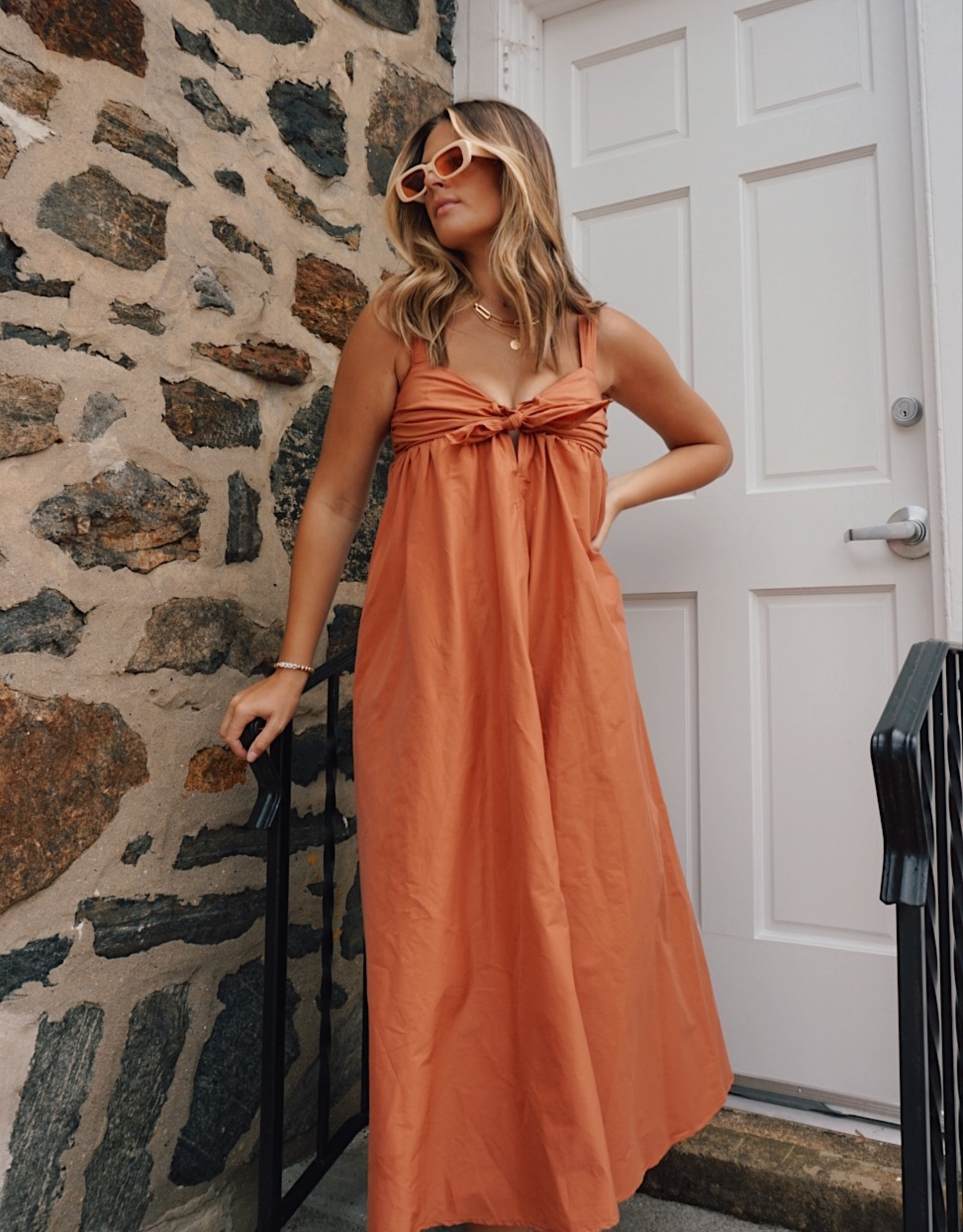 Sheila Knotted Front Midi Dress