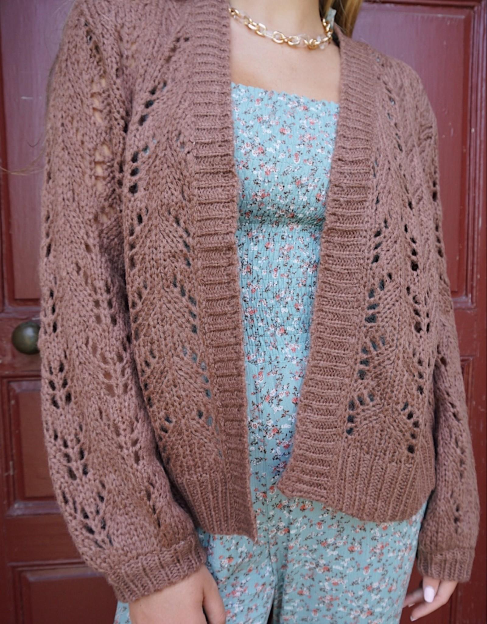 Adriene Crochet Knit Cardigan Sweater