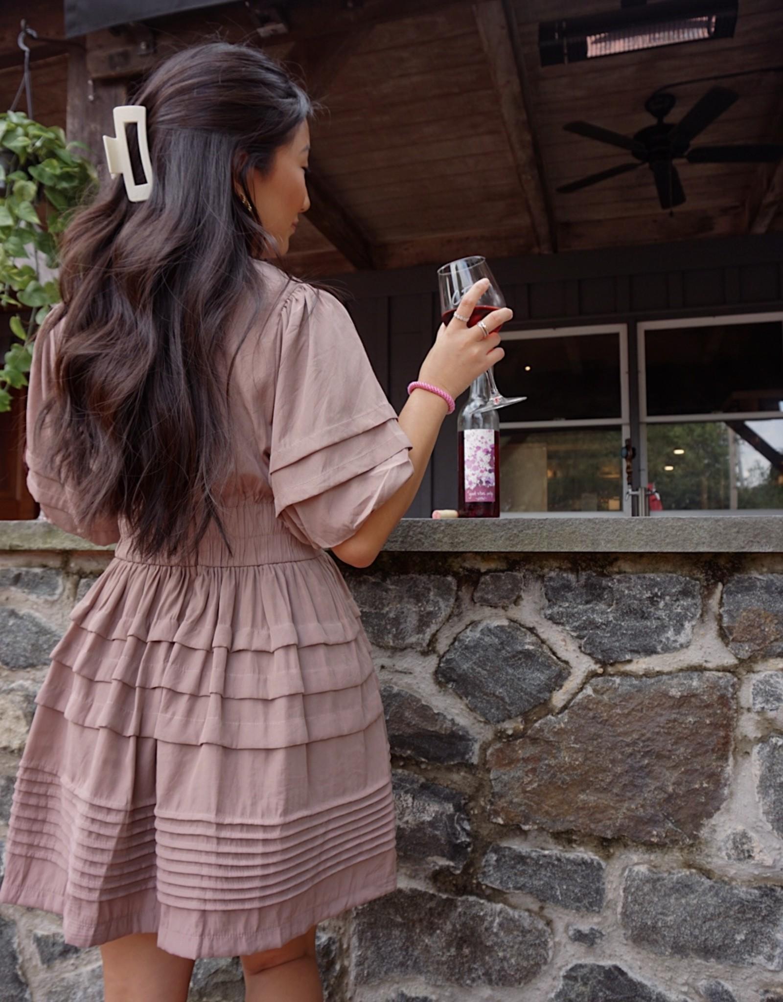 Leyla Pleated Tiered Mini Dress
