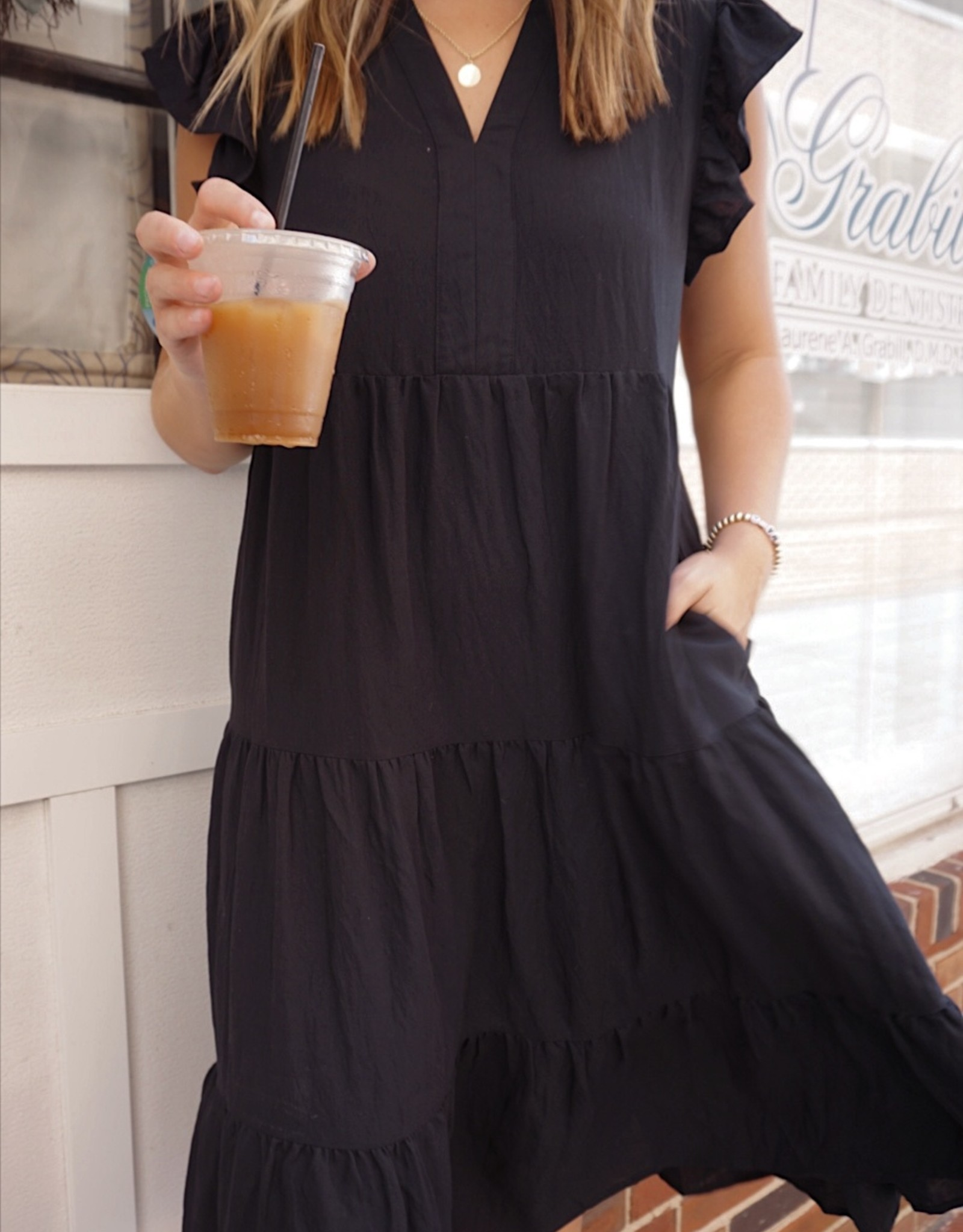 Catie Flutter Sleeve Tiered Midi Dress