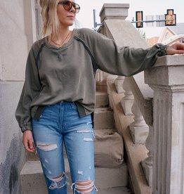 Sloane Criss Cross Open Back Sweatshirt