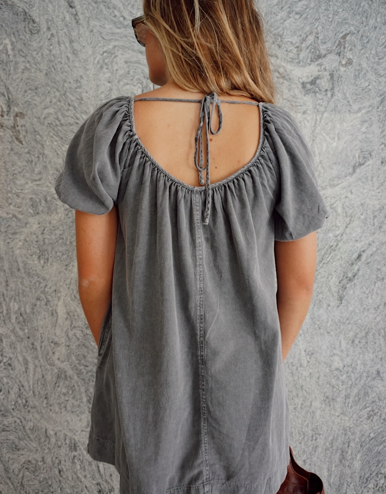 Dolly Washed Grey Back Tie Dress
