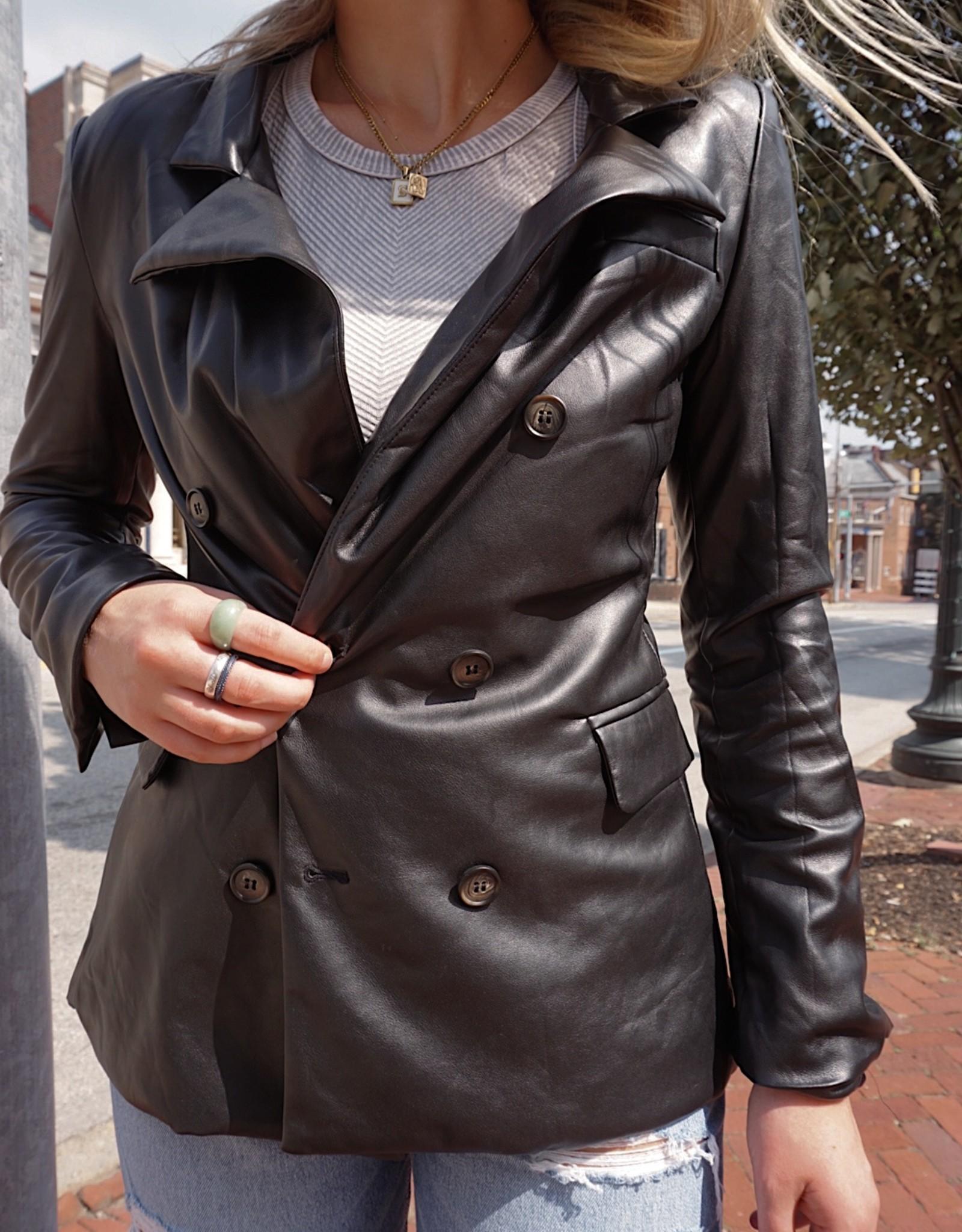 Vanessa Vegan Leather Oversized Blazer