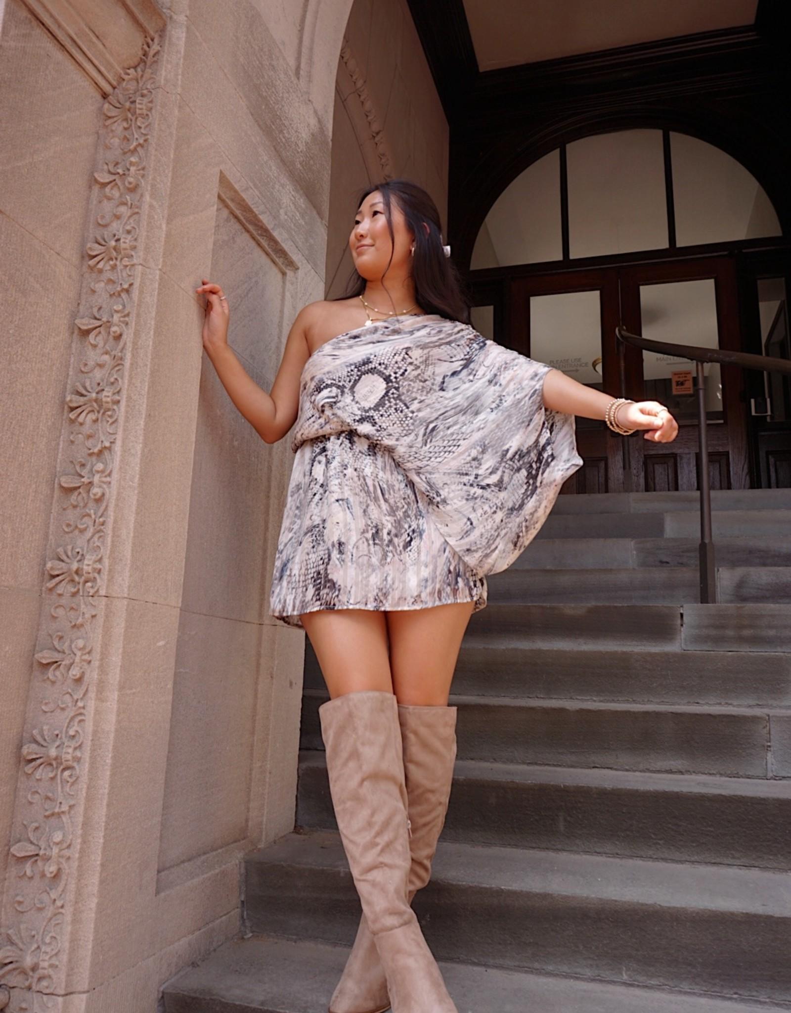 Rihanna One Shoulder Snake Print Dress
