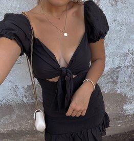 Kealy Smocked Tie Front Mini Dress