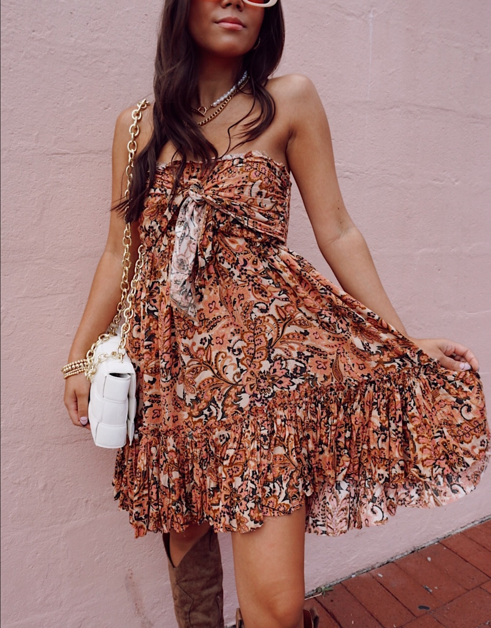 Letita Strapless Tie Front Dress