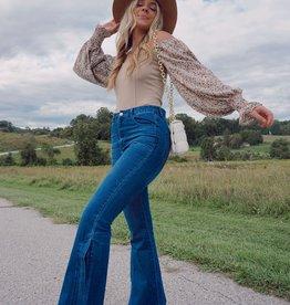 Gemma Balloon-Sleeve Ribbed Bodysuit