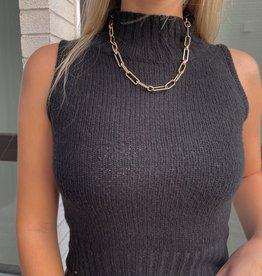 Carolena Sleeveless Turtleneck Knit Tank