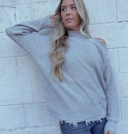 Holland Distressed Asymmetric Pullover Sweater