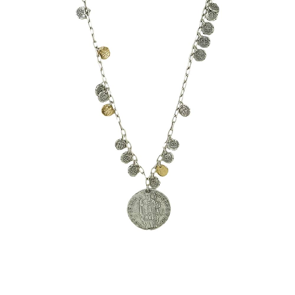 Tat2 Tat2 Vintage Silver Apollonia & St. Blaise Multi Coin Necklace