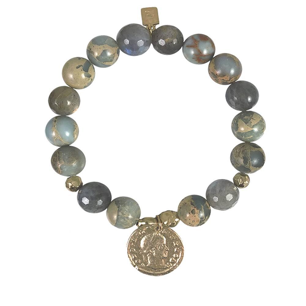 Tat2 Tat2 Gold Constantine Blue Opal & Labradorite Stretch Bracelet