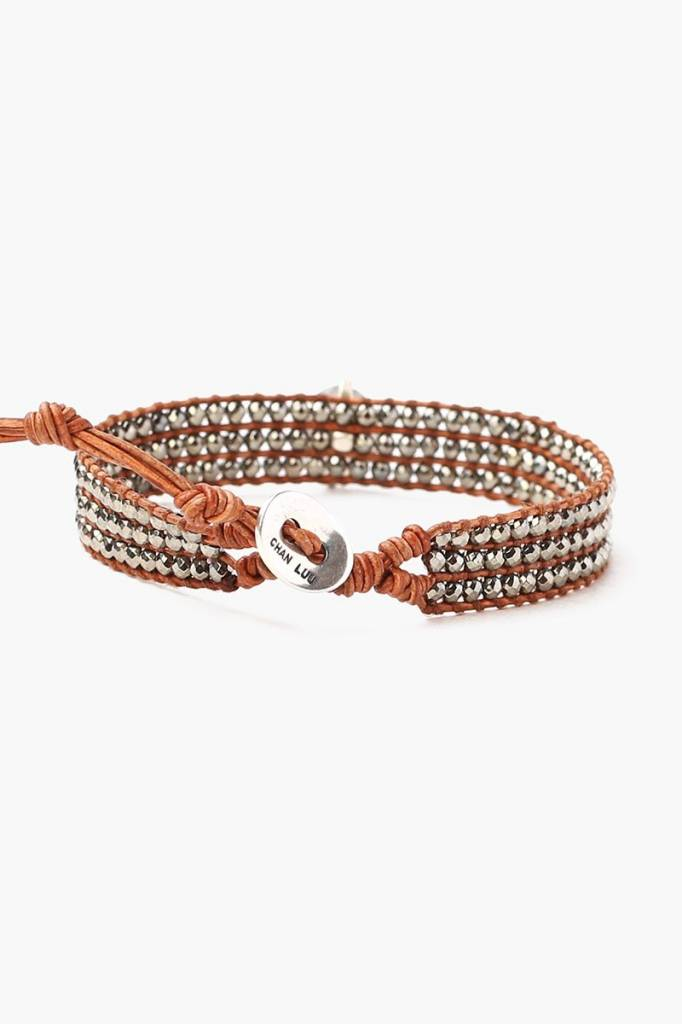 Chan Luu Chan Luu Pyrite Mix Stones Single Wrap Bracelet
