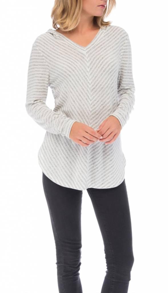 Bobeau Bobeau Brushed Sweater Knit Stripe - Large
