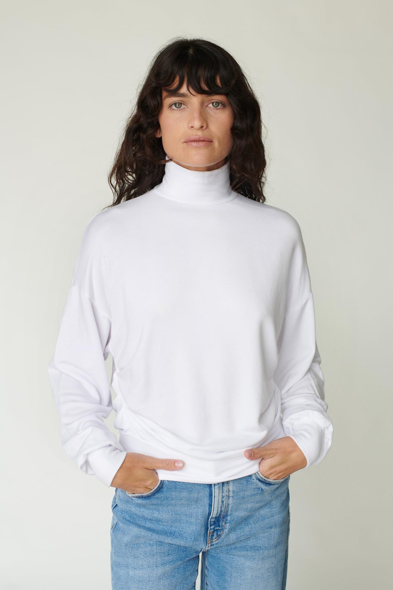 Stateside Stateside Viscose Fleece Rouched Mock Sweatshirt