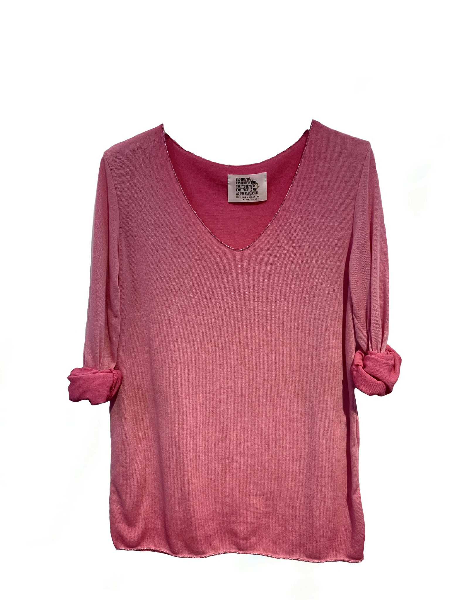 Free Free L/S V Lurex Trim Top