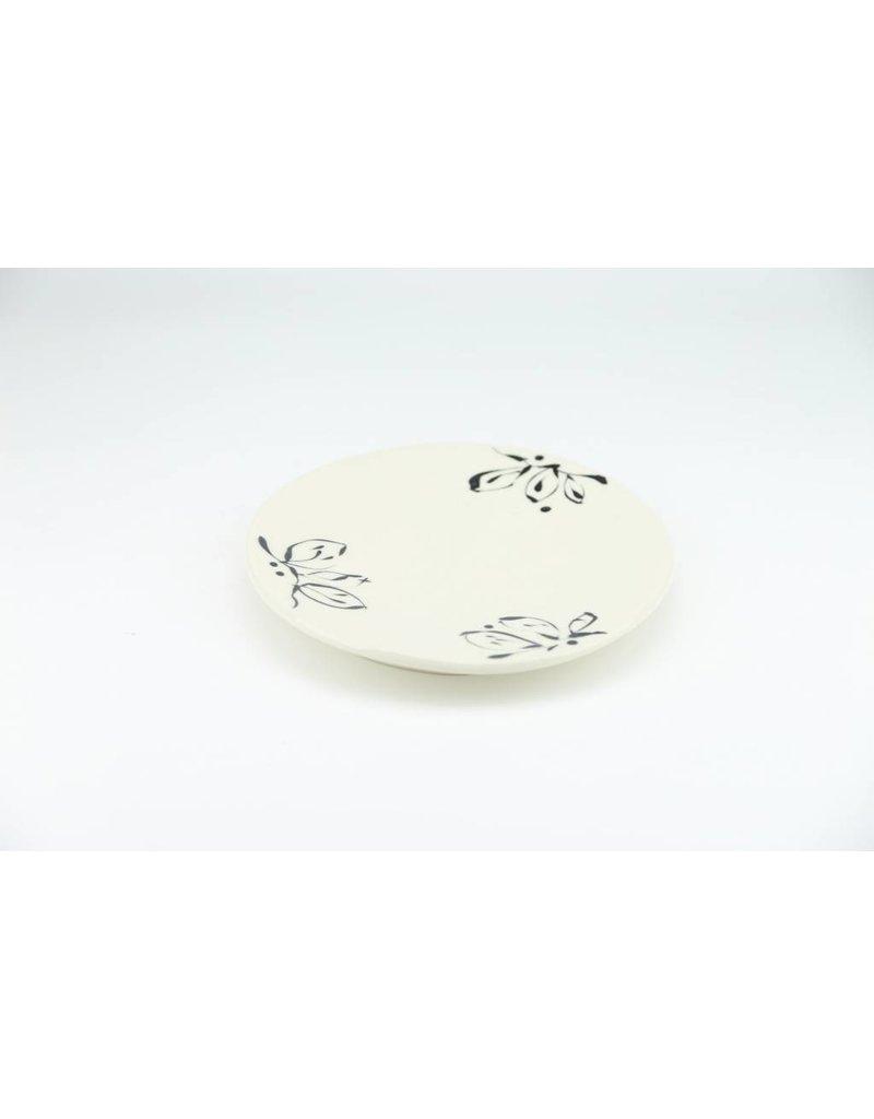 Linda Bowman Linda Bowman - Plate - Black and White Leaf Design