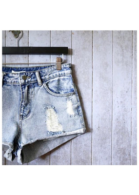 Little Lies Distressed denim shorts