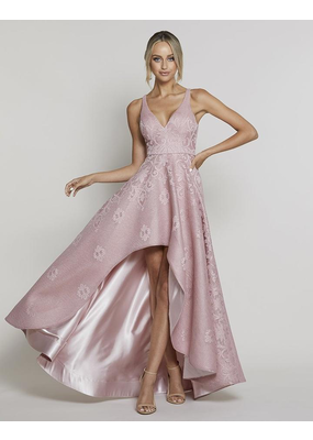 Bariano Ivy Asymmetric Mesh Gown