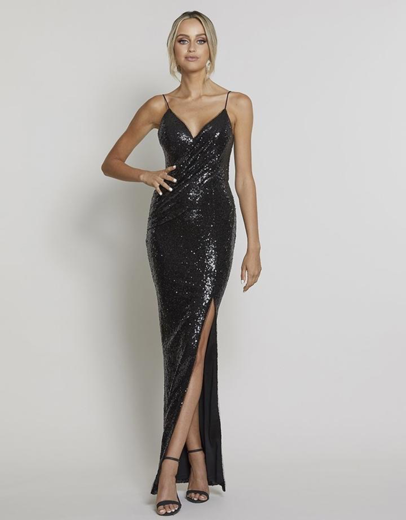 Bariano Amber Draped Sequin Gown