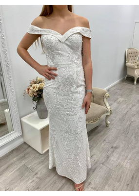 Bariano Carlie Off Shoulder Beaded Gown