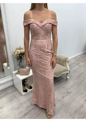 Bariano Carlie Off-Shoulder Beaded Gown