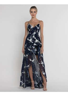 Bariano Florance Waterfall Mesh Gown