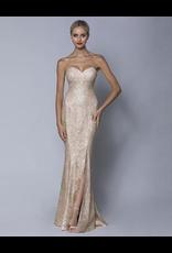 Bariano Greccia Strapless Diamante Gown