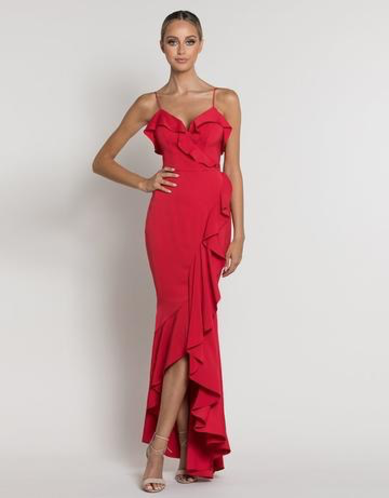 Bariano Laila Ruffle Drape Gown