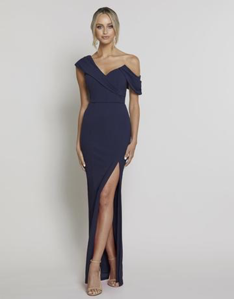 Bariano Orchid Asymmetric Drape Gown