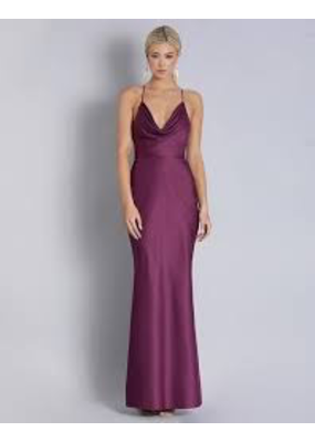 Bariano Bariano Gwyneth Plunge cowl satin gown